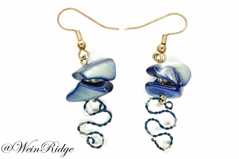 Blue Shell Earrings Blue Wire and Shell Earrings Twisted image 0