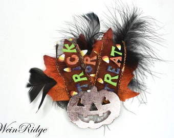 Jack-o-Lantern Hair Clip, Halloween Feather Hair Clip, Orange Faux Leaves, Black Feathers and Orange Faux Leaves Trick or Treat Ribbon