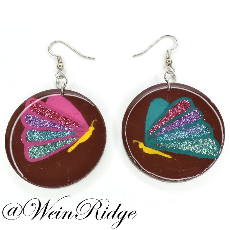 Glitter Butterfly Hand Painted Earrings Teal & Pink image 0