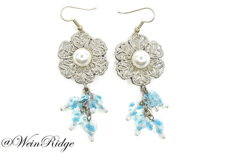 New Vintage Earrings  Metal Flower and Hearts Earrings  Blue image 0