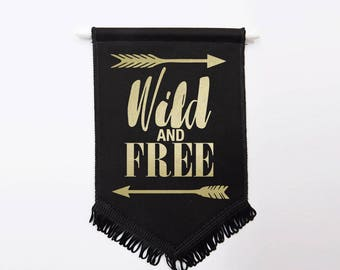 Wild and Free Wall Flag | Black