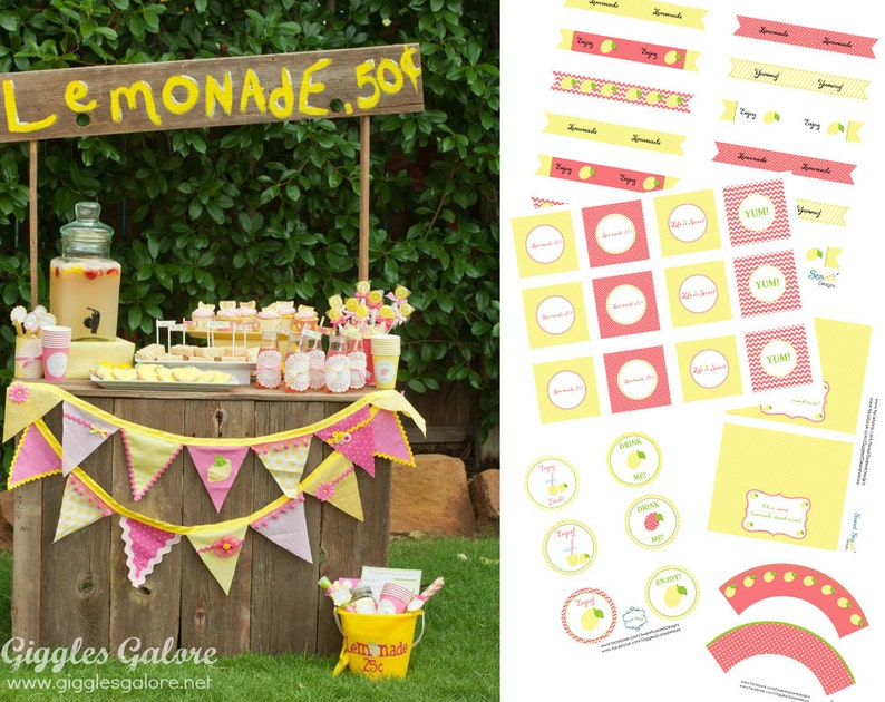 DIY Lemonade Stand Kit Party Printables image 0