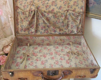 Antique Straw Suitcase With Beautiful Pink Rose Interior
