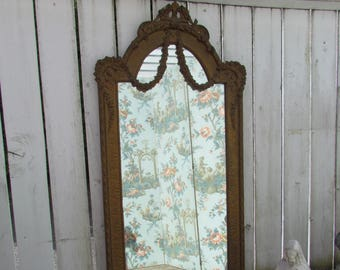 Huge Antique Barbola Swags Mirror/ Huge Gold Wall Mirror/Shabby Barbola Mirror