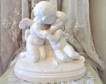 Large Adorable Cupid With Cherub Statue