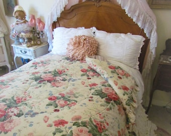 Pink Cabbage Rose Queen Comforter, French Cottage Comforter RARE