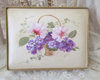 Vintage French Hand Painted Flower Basket Candy Chocolates Box