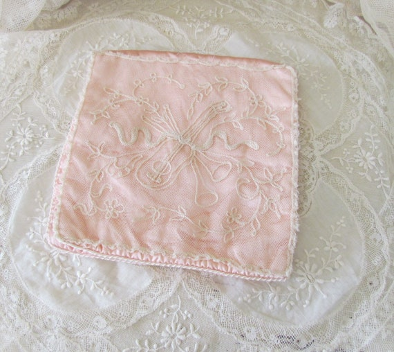 French Tambour Net Lace Pink Silk Hankie Lingerie