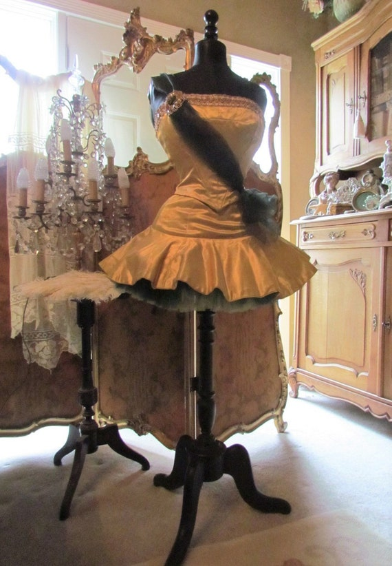Vintage Gold Satin Ballet, Tap Dance Costume, Tutu
