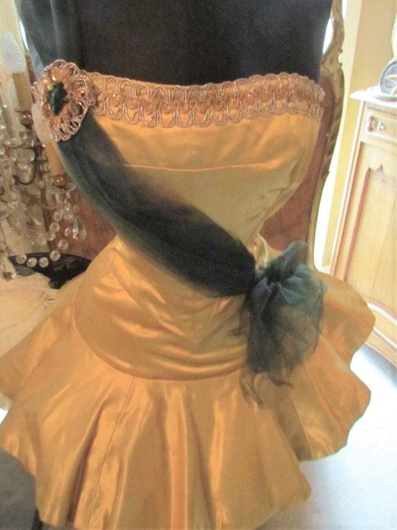 Vintage Gold Satin Ballet, Tap Dance Costume, Tut… - image 2