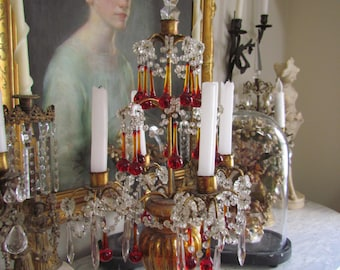 Antique French Gilt Wood Girandole Candelabra With Red Crystal Bobble Prisms