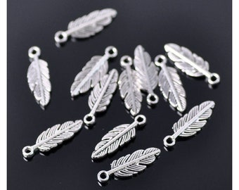 25 Antique Gold Wing Feather Jewellery Charms 30x9mm