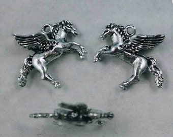 22mm Silver Yellow Plated 3-D Mustang Charm