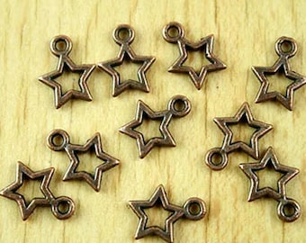5 Star Charms Antiqued Copper Celestial Pendants Cross Findings Christmas 21mm