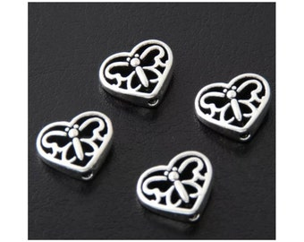 50Pcs Antiqued Silver Tone Tiny Smooth Heart Spacer Beads Charms 4.5x5mm