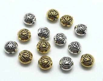 12510PCS 12mm S999 Fine Silver 3D Lotus Beads,Lotus beads,Silver spacer beads,Silver Lotus Beads,Yoga bracelet beads