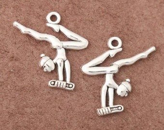 Sports Charms Craft and Jewelry Supplies 2 Sided Gymnastics Charms Gymnast Charms Findings 20pcs Gymnastics Charms Cheer Charms