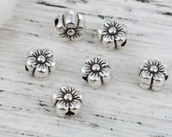 silver flower connector beads silver blossom beads jewelry beads for womens jewelry metal daisy beads 20pcs 11mm floral beads