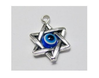 solid sterling silver evil eye star of david charm charms finding 14x14mm