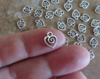 Tiny SWIRL HEART CHARMS Very Small Love Valentine Mini Hearts Jewelry Supplies Please Read Item Details  9.5x8.5mm Extension Chain Drops