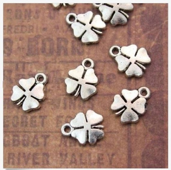 14 Four leaf clover charms antique silver tone L47