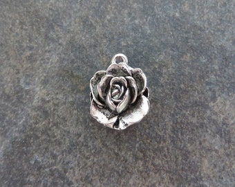 6 Lovely Rose Charms Small Rose Pendants Atq Silver Tone Varying Contrast Flower Floral Jewelry Craft Supplies 17x13 mm