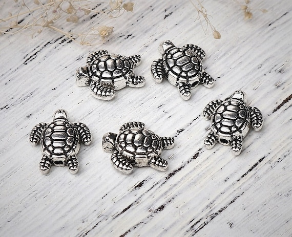 Vintage Silver Alloy Animal 9mm Sea Turtle Spacer Beads Jewelry Makings DIY