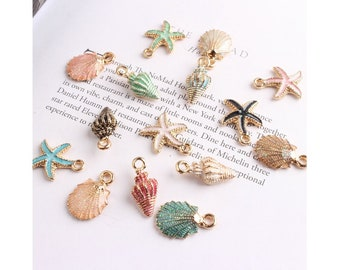 5, 10 or 20 Assorted Enameled Colorful SEA SHELL Charms Small Mermaid Beach Cruise Shells Jewelry Supplies