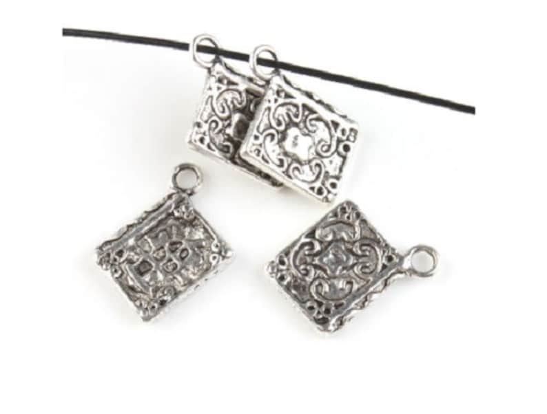 30 Detailed BOOK OF SHADOWS Charms Journal Diary Charm Book Lover Bulk Jewelry Supplies Antique Silver Witch Spell Book 17x11 mm