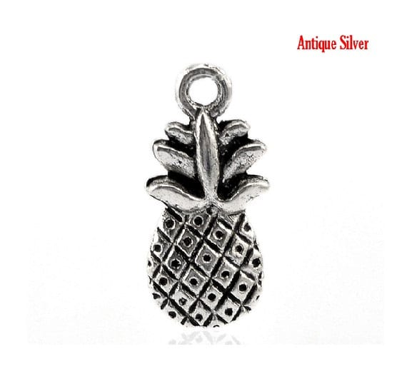 10 Double Sided Pineapple Charms Symbol Of Hospitality And Etsy