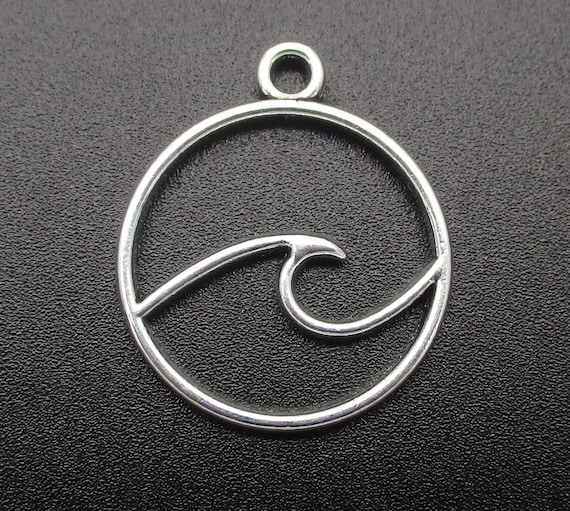 Mini Bronze Wave in Circle Charms Beach Waves Surfer Surfing Mermaid Jewelry Supplies 15x12mm