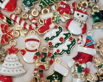 Enamel Christmas Charms Colorful Assortment of Holiday Jewelry Supplies Random Assortment Choose Quantity Enameled Some with Rhinestones