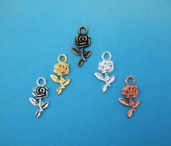 40 Lovely Rose Charms 6 Colors Flower Floral Jewelry Supplies 10x20mm Silver, Rose Gold, Gold, Champagne Gold & Bronze Tones by Etsy