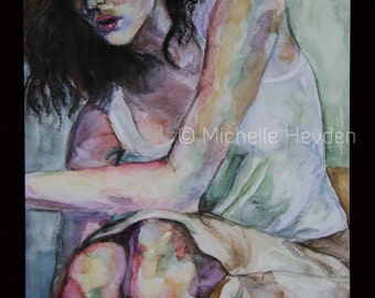 "Fine Art Metal Print- 20"" x 16""-Colorful Watercolor of Woman- ""Without Words"""