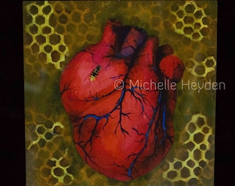 "Fine Art Metal Print- 12"" x 12""- Anatomical Human Heart and Bee- ""Dirge for the Beekeeper"""