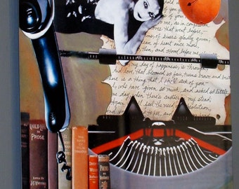 "Fine Art Metal Print-14"" x 11""- Collage with Typewriter, Vintage Woman, and Phone-""Longing"""