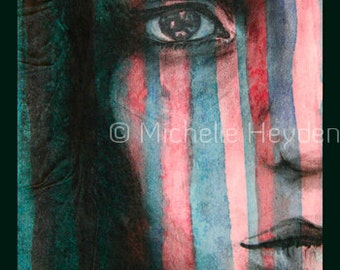 "Hanging Fine Art Metal Print-20"" x 16""- Colorful Striped Female Face- ""Arise"""