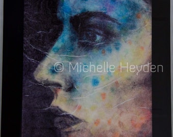 "Hanging Fine Art Print on Metal- 20"" x 16""- Colorful Female Face- ""Disintegrate"""