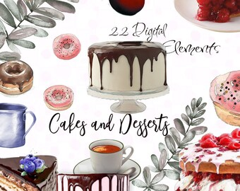 Bakery Clipart, Dessert Clipart, Printable Cakes, Digital Cake Plates, Digital PNG, P 199