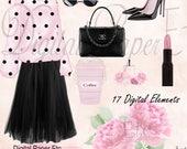 Digital Fashion Clip Art, Digital PNG, Perfume, Shoes, Scattered Pearls, Pink Floral, Purse, Lipstick, Fashion Digital Art, P206