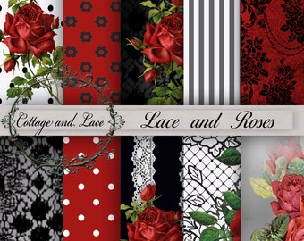 Red and Black Digital Paper, Red Roses and Lace, Red and Black Scrapbooking Paper, Decoupage, Red and Black Digital Papers P 80B.