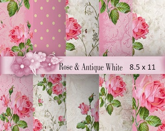 Rose Digital Paper: Pink Rose and Antique White, Rose and Antique White Background, Rose Scrapbook Paper, Old Paper, P 164