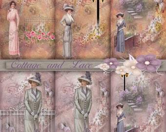 Digital Tags, Digital Vintage Tags, Collage Tags, Decoupage.  2.25 x 3.75 Digital Tags, Digital Gift Tags, Scrapbooking Tags  P 74
