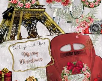 Christmas Digital, Christmas Clipart, Holiday Clipart, Merry Christmas, Paris Christmas, PNG Elements P 210