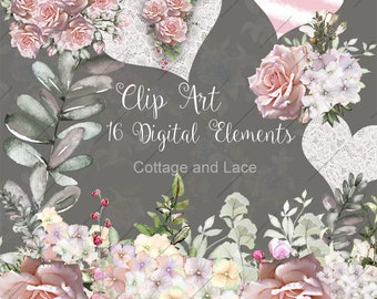 Digital Watercolor, Wedding Bouquets, Roses Flower Clipart, Individual PNG Elements, Instant Download, Digital Wedding Invitations, P 217