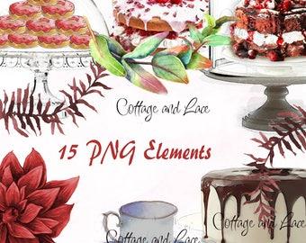Dessert Clipart, Digital Cake Stands, Digital Cakes, Watercolor Cake clipart,  Bakery Clipart, Digital PNG, Printable Bakery, P 179