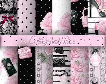 Girl Stuff Digital Paper, Fashion Illustration, Beauty Accessories, Pink Floral, Black Accessories, Cell Phone  P 214