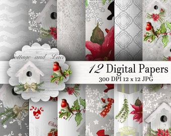 Christmas Paper, Christmas Digital Paper Pack, Winter Background Illustration, Graphics Resources, Seamless Paper   P 143