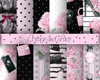 Fashion Digital Paper Pack, Girly Paper, Pink and Black Digital Paper, Floral Paper Digital Paper, P 214