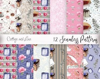 Digital Papers, Seamless Patterns, Digital Bakery Repeating Patternes,  P 197